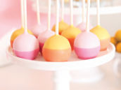 bright two tones color blocked cake pops