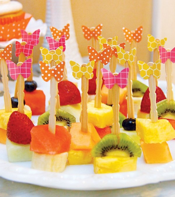 butterfly topped fruit skewers