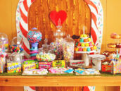 candy decorated dessert table backdrop