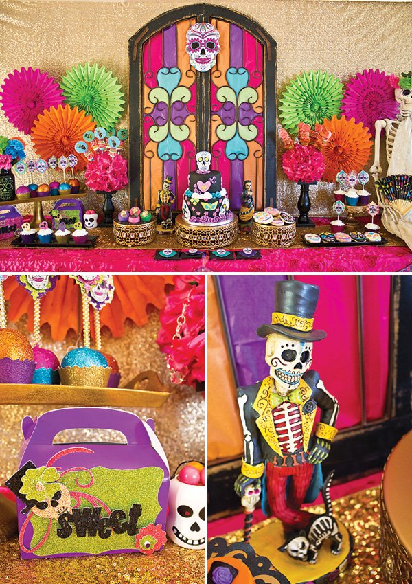 dia de los muertos party dessert table
