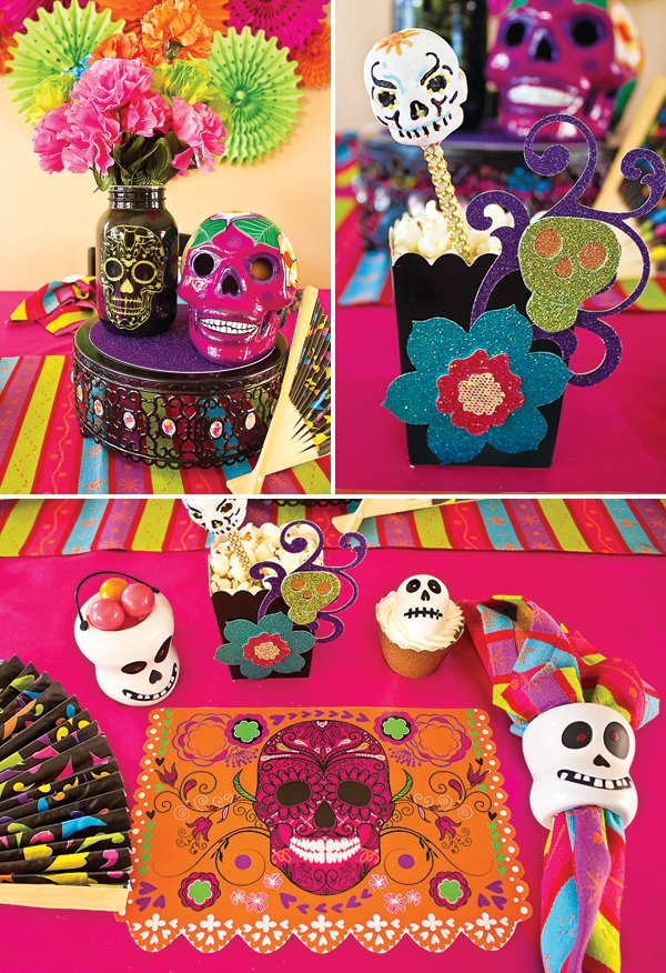 dia de los muertos party tablescape and place setting ideas