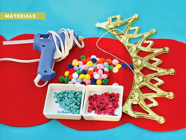 DIY royal birthday crown tutorial supplies