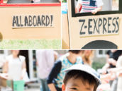 diy cardboard train for a birthday party