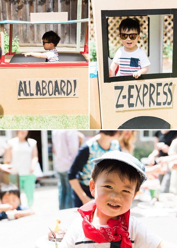 diy cardboard train for a birthday party