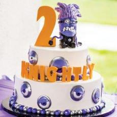 evil purple minion birthday cake