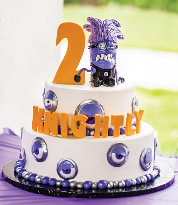 Evil Purple Minion Birthday Cake