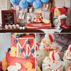 farm birthday party dessert table