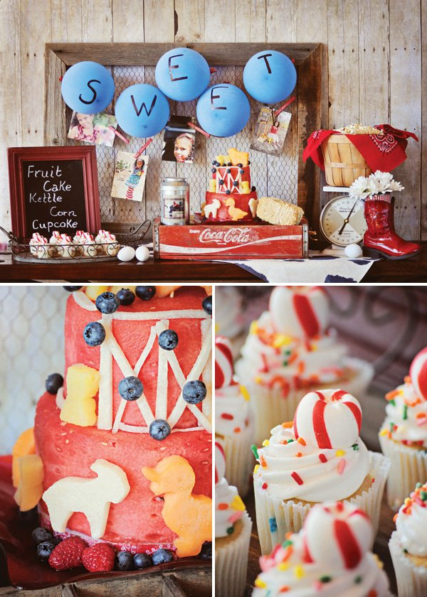 farm birthday party dessert table