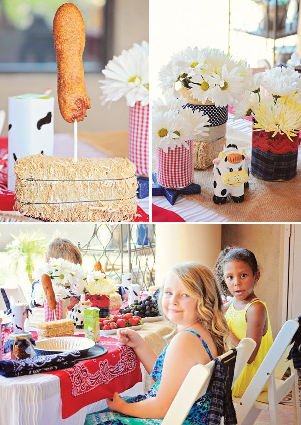 farm birthday party kids lunches and tablescape