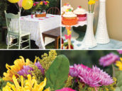 garden birthday party floral arrangements