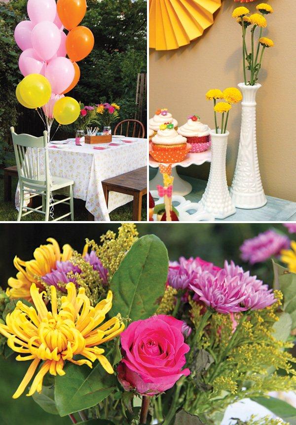 garden birthday party floral arrangements