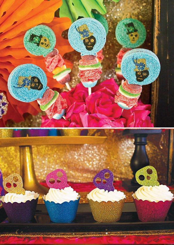 glitter skull party desserts