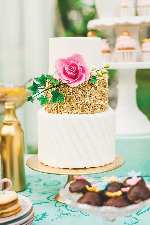 gold, white and pink rose tea party cake