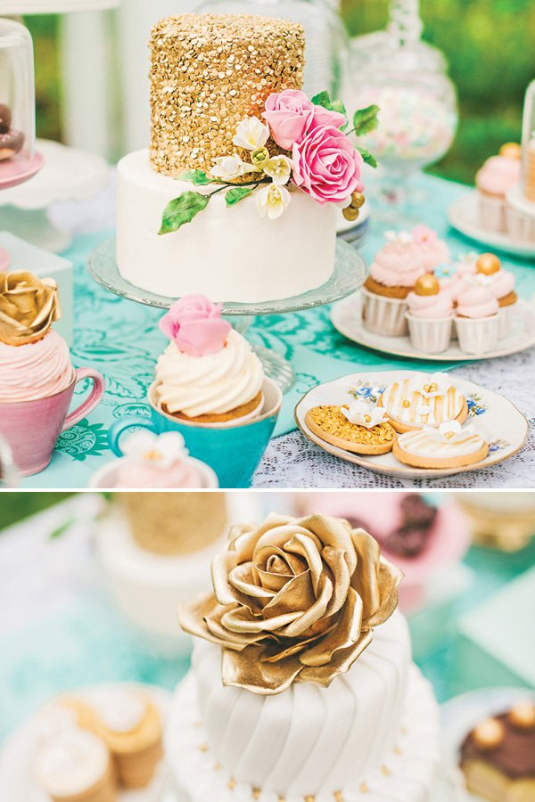 gold and white tea party cakes