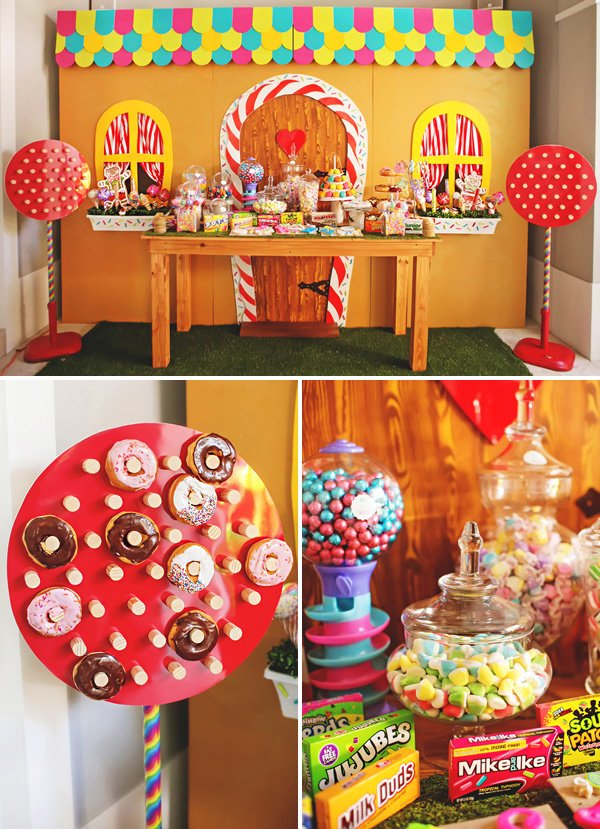 hansel and gretal gingerbread dessert table backdrop