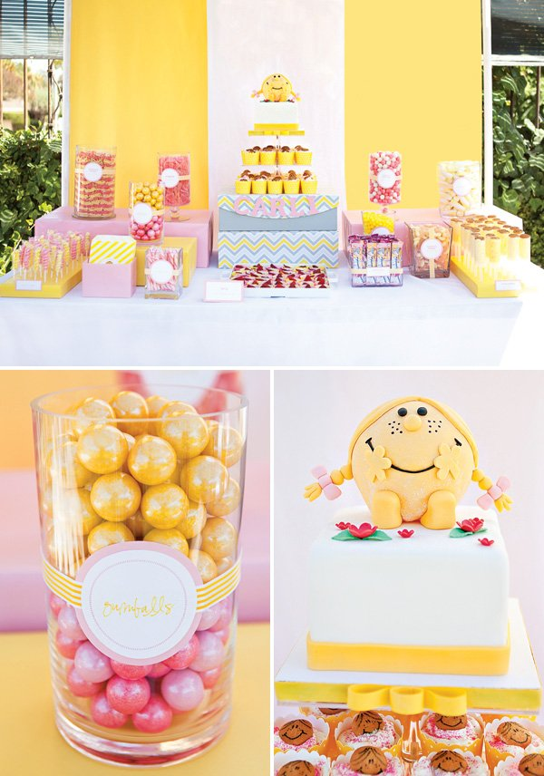 little miss sunshine dessert table and birthday cake