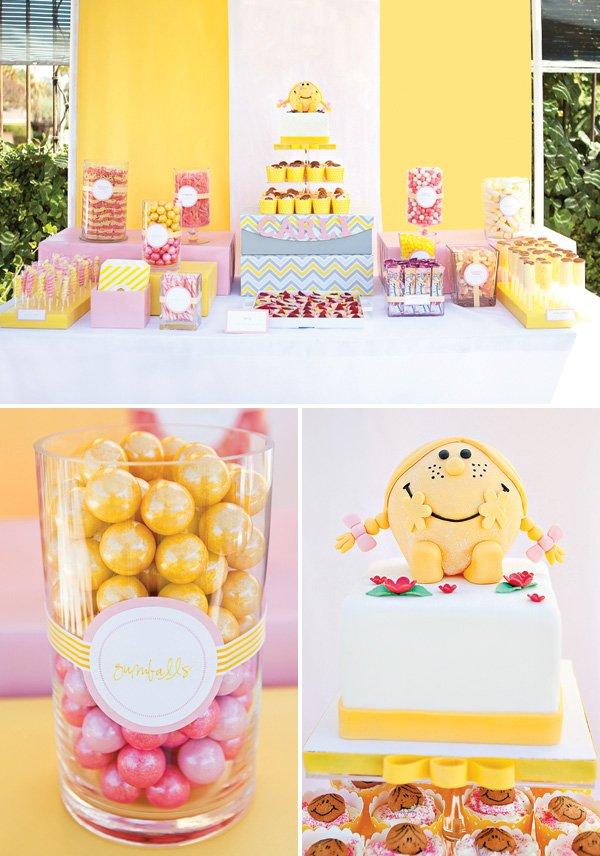 little miss sunshine dessert table and birthday cake