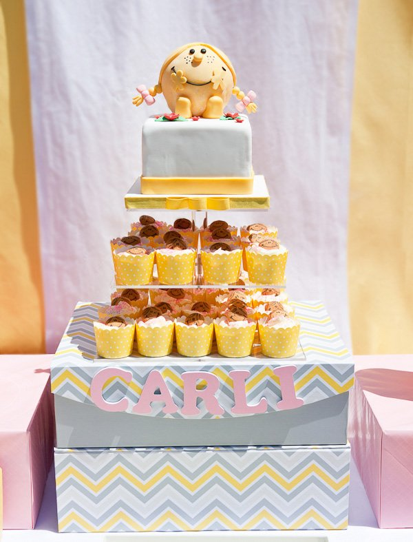 little miss sunshine cupcake tower display