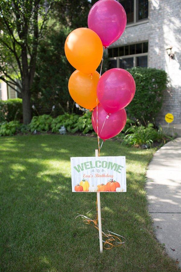 Pumpkin Birthday Welcome Sign