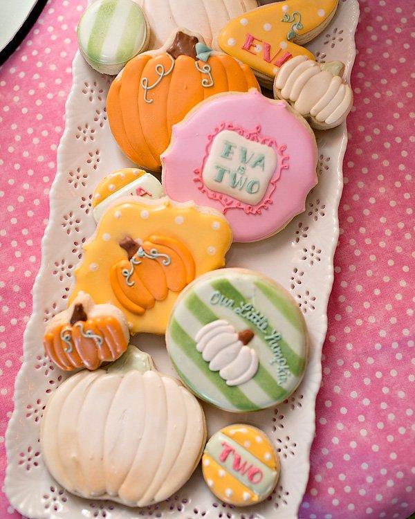 Pumpkin Birthday Royal Icing Cookies
