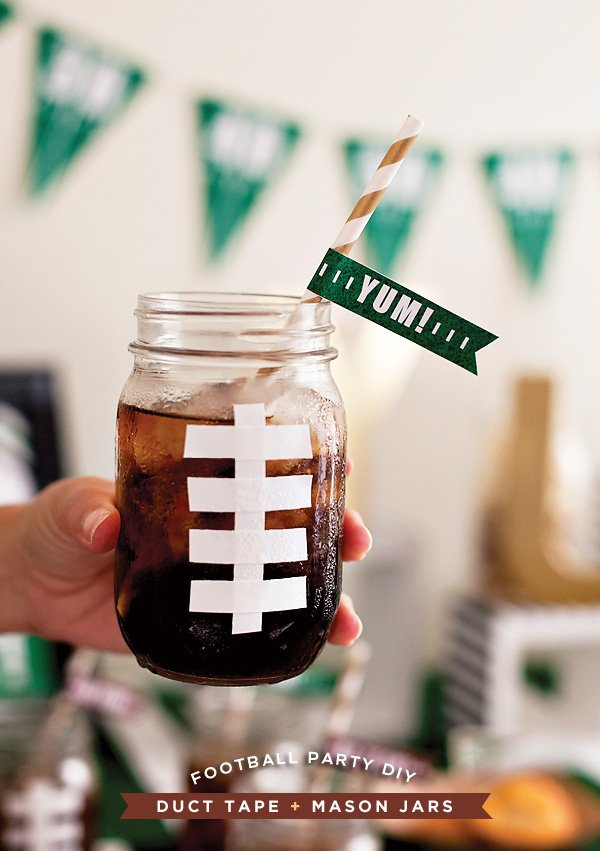 DIY Football Mason Jar Drinks