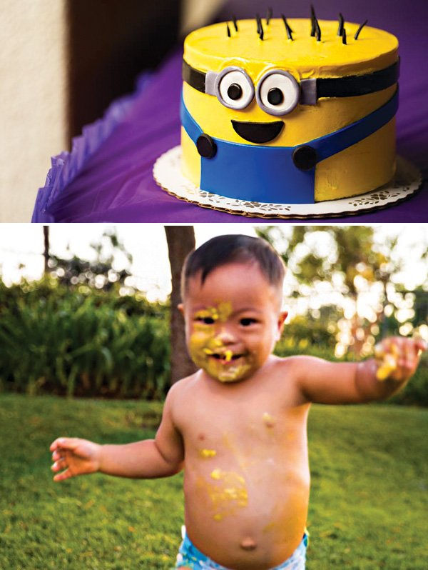 minion birthday smash cake