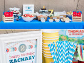 modern train birthday party ideas