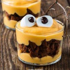 monster pumpkin brownie parfaits
