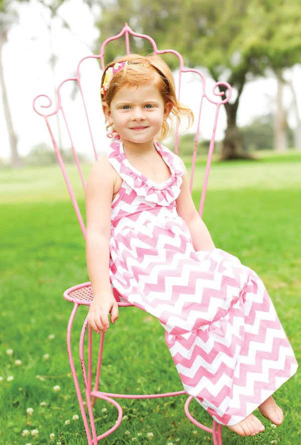 little girl's pink chevron birthday dress