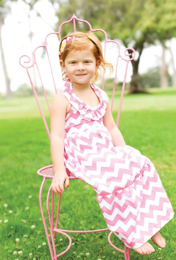 little girl's pink chevron birthday dress