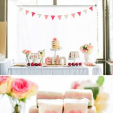 pink white red dessert table