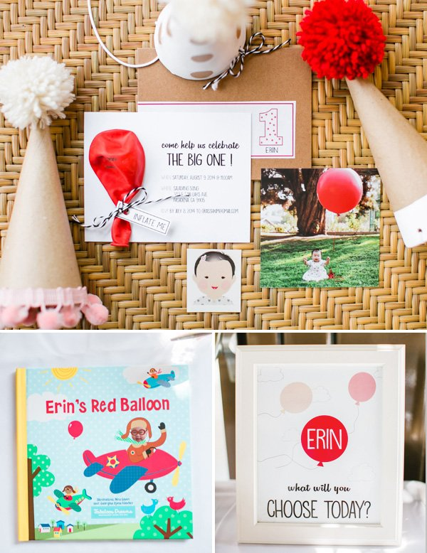 balloon themed birthday invitations and signs