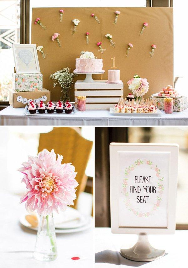pine white flower dessert table