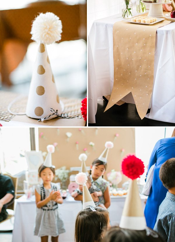 diy paper mache birthday hats with pom tops