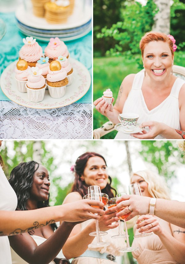 pink tea party cupcakes and champagne