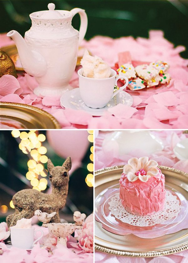 pink tea party tablescape and desserts