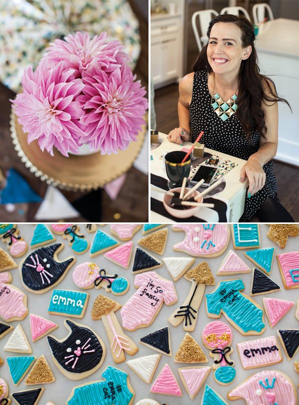 pink teal and gold baby shower ideas
