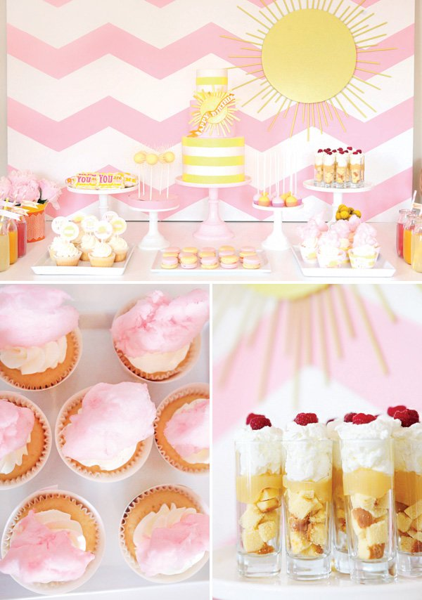 pink and yellow you are my sunshine birthday party dessert table
