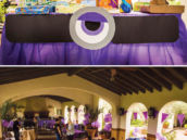 purple minion birthday party setup