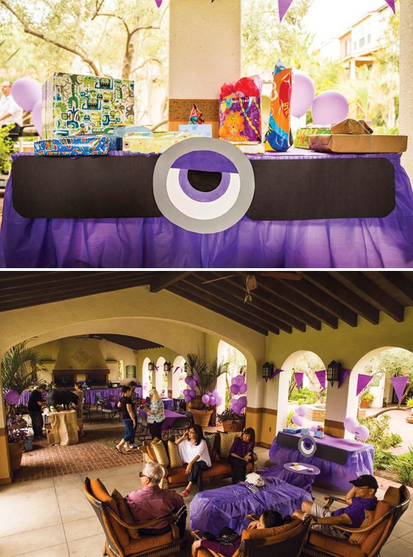 purple minion birthday party setup
