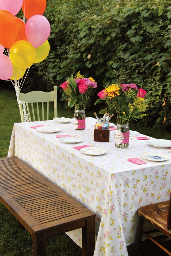 simple garden birthday party tablescape