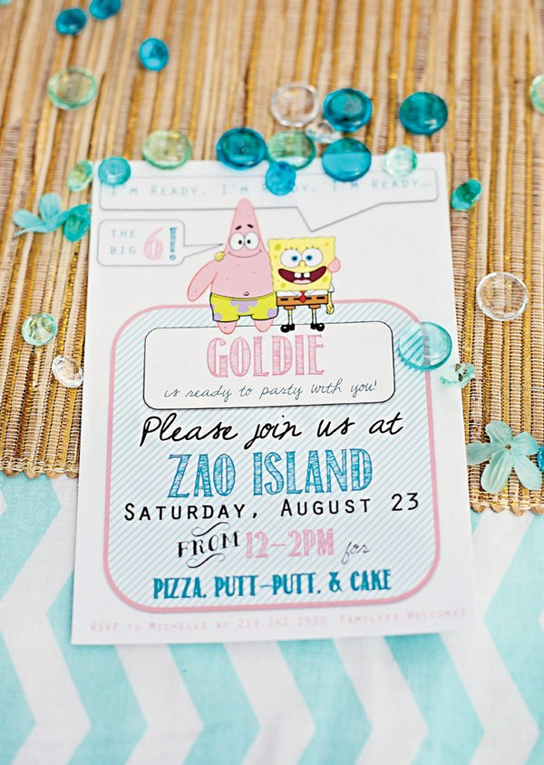 spongebob squarepants birthday party invitation