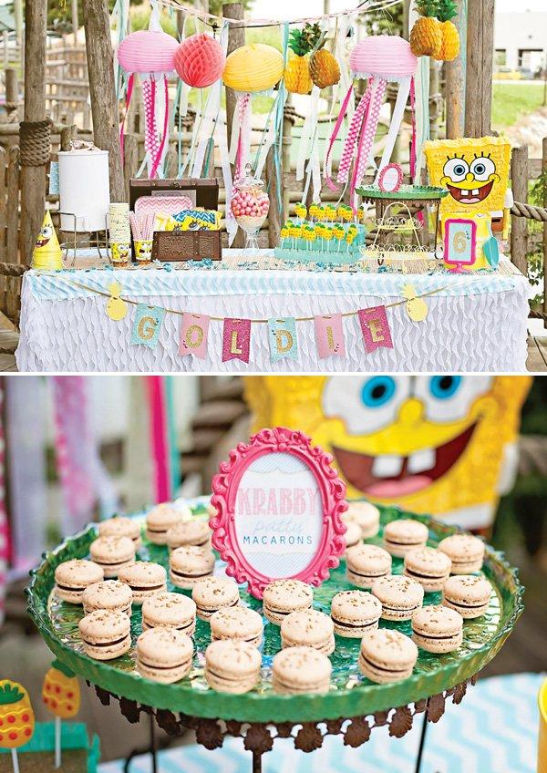 spongebob squarepants birthday party ideas and dessert table