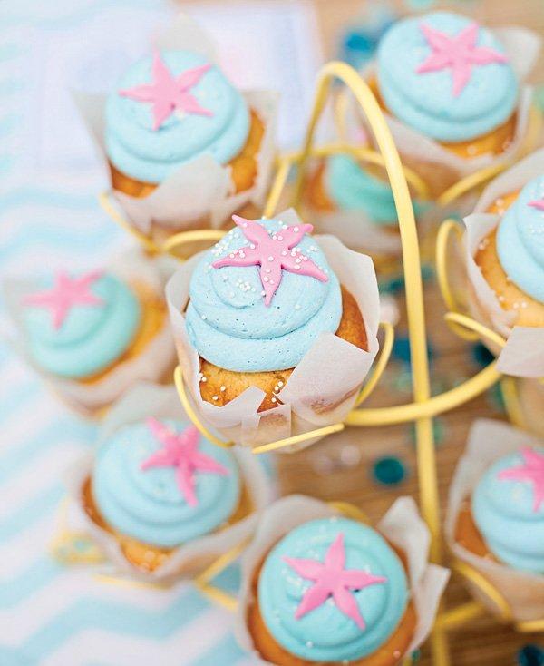 patrick pink starfish topped cupcakes
