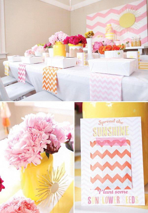 sunny chevron birthday party tablescape