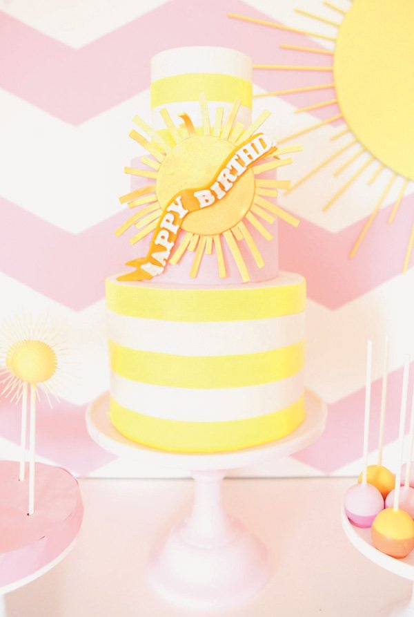 yellow striped you are my sunshine birthday cake