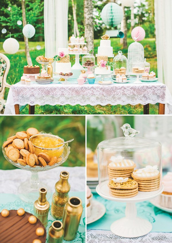 lace tea party dessert table