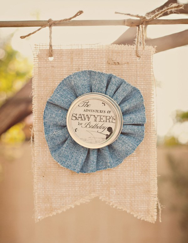 tom sawyer party burlap banner