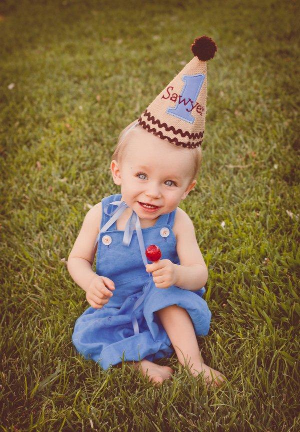 tom sawyer burlap first birthday hat