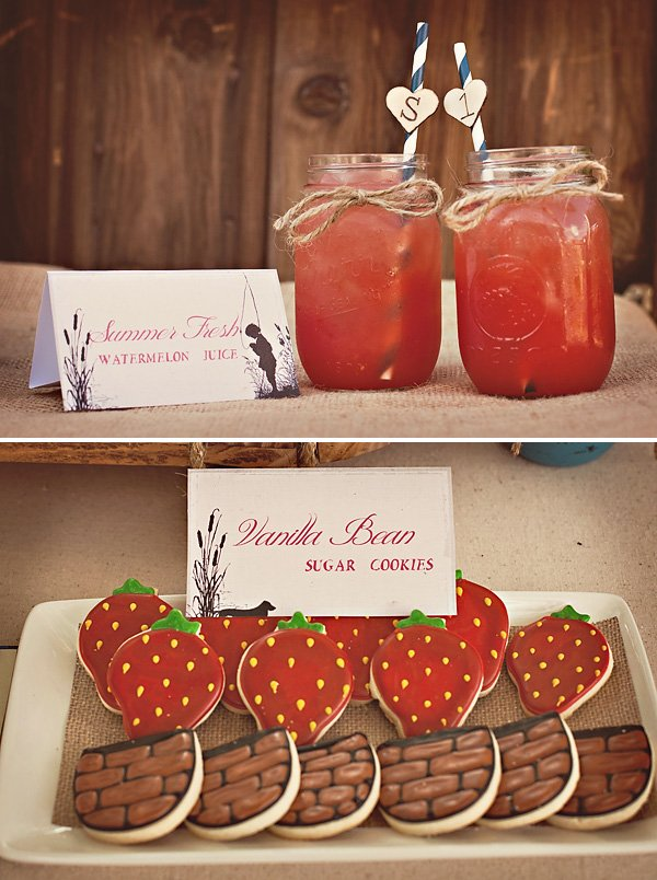 strawberry cookies and watermelon juice